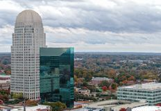 Downtown Winston-Salem at with Fall Colors. WINSTON-SALEM, NC, USA - NOVEMBER 1, 2018: Downtown Winston-Salem at in fall colors on November 1, 2018 in Winston stock photos