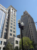 Downtown Winston-Salem, North Carolina. A view looking up in downtown Winston-Salem skyline stock photography