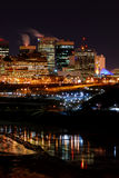 Downtown Winter Night in Edmonton. The city horizon of Edmonton, Alberta on a cold winter night. City Hall is visible on the right Stock Photography