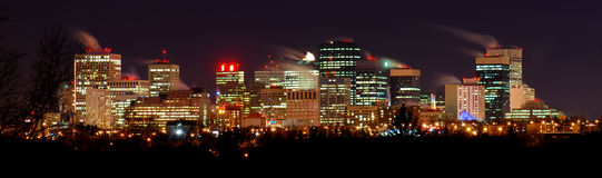 Downtown Winter Night in Edmonton. The city horizon of Edmonton, Alberta on a cold winter night. City Hall is visible on the right Royalty Free Stock Photography