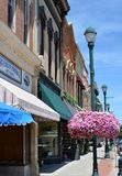 Downtown Winterset Iowa. View along a sidewalk in downtown Winterset, Iowa Royalty Free Stock Images