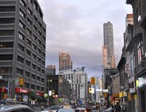 Toronto, 24th June: Downtown on Yonge Street by night from Toronto of Ontario Province in Canada. Downtown on Yonge Street by night from Toronto of Ontario Stock Photos