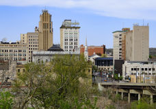 Downtown Youngstown Ohio Skyline. A view of downtown Youngstown Ohio during Spring with a bright blue sky Stock Photo