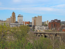 Downtown Youngstown Ohio During Spring. A view of downtown Youngstown Ohio during Spring with a bright blue sky Stock Image
