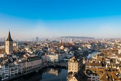 Downtown of Zurich city center at sunny day with limat river Royalty Free Stock Photos