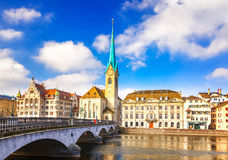 Downtown of Zurich. At sunny day Stock Photos
