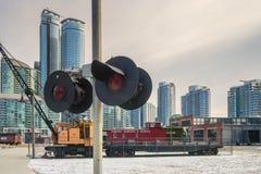DowntownToronto dal museo del treno Fotografia Stock Libera da Diritti
