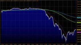 downtrend Financeiro, falha, crise econômica Queda conservada em estoque da carta Imagem de Stock