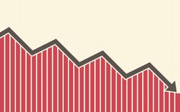Downtrend line arrows with bar chart in flat icon design on yellow color background. Downtrend line arrows with bar chart in flat icon design on yellow color Stock Image