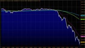 downtrend Pieniężny, niepowodzenie, kryzys gospodarczy Akcyjny mapa spadek Obrazy Stock