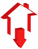 Downtrend of the real estate market. Icon representing the downtrend of the real estate market Stock Photo