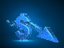 Downtrendpil För USD för affär teknologiskt polygonal neon för vektor dollar Låg poly framgång, begrepp för datakassafinans vektor illustrationer
