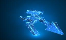 Downtrendpil, rupievaluta, digitalt neon 3d Låg poly affärskris för Polygonal vektor, krasch, datafinansbegrepp stock illustrationer