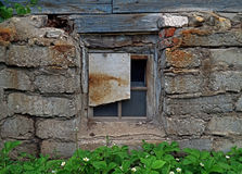 Downtrodden window in old house Stock Photo