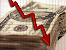 Downturn. Cash, red downward arrow and grid Royalty Free Stock Image