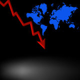 Downturn. Red decending arrow and world map Stock Photo