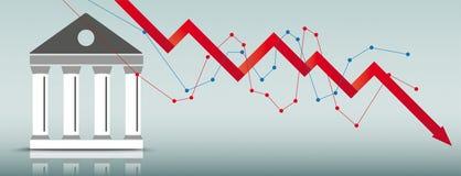Bourse Building Downturn Chart Header. Downturn chart with bourse building on the green background Stock Photo