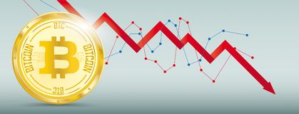 Golden Bitcoin Downturn Chart. Downturn chart with golden bitcoin on the green background Royalty Free Stock Photography