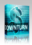 Downturn Finance illustration box package. Software package box Downturn Finance illustration, dollar symbol over financial design Royalty Free Stock Images