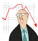 Downturn in Sales. Humorous cartoon of an unhappy businessman in front of a bad sales chart Stock Images