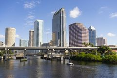 Downtwon City Skyline and Waterways of Tampa Florida. A beautiful sunny summer day in Tampa Florida downtown and on the waterways royalty free stock images