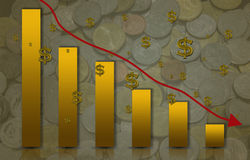 Downward bar-graph with dollar sign. Stock Photo