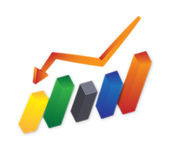 Downward curve. A downward curve include five colorful columns and one curve stock illustration