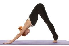 Downward facing dog asana on tiptoes Stock Images