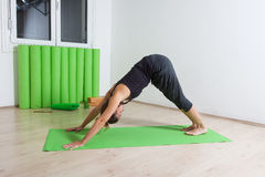 woman downward facing dog yoga pose stock photos images