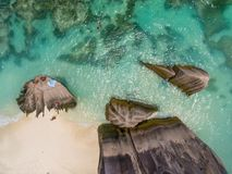 Downward overhead view of beautiful rocks on the beach.  stock image