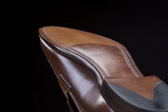 Downward Side of Penny Loafer Natural Leather Sole. Closeup Shot. Stock Photos