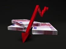 Downward trend arrow on Euros Royalty Free Stock Photo