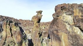 Downward view of rock pinnacles see in the desert