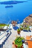 Caldera panoramic terrace Santorini Greece stock images