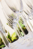 From downwards up. A few champagne glasses standing in a row and photographed from different angles Royalty Free Stock Image