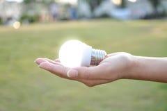 DOWODZONA żarówka z oświetleniem w istocie ludzkiej zdjęcie stock