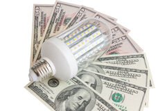 Dowodzony światło i dolary Obraz Stock