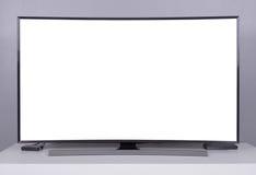 DOWODZONY TV z pustym ekranem na stojaku obraz stock