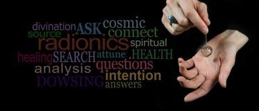 Dowsing with a crystal pendulum website header Stock Photos