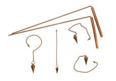 Dowsing rods and pendulum royalty free stock photos