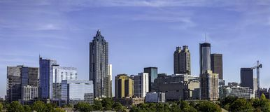 Dowtown Atlanta Georgia Skyline. Downtown Atlanta Skyline showing several prominent buildings and hotels under a blue sky Stock Photography