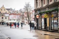 Dowtown av Riga, Lettland Fotografering för Bildbyråer