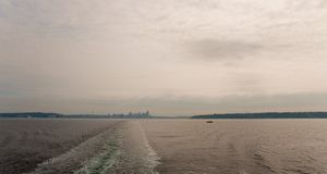 Dowtown Seattle skyline. Downtown Seattle skyline seen from ferry Stock Photos