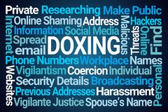 Doxing Word Cloud. On Blue Background stock illustration