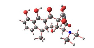 Doxycyclin-Molekülstruktur lokalisiert auf Weiß lizenzfreie abbildung