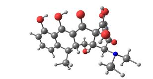 Doxycycline δομή που απομονώνεται μοριακή στο λευκό ελεύθερη απεικόνιση δικαιώματος