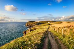 Doyden Point on the South West Coast Path. Approaching Doyden Point above Port Quin on the South West Coast Path in north Cornwall Royalty Free Stock Images
