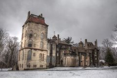 Fonthill castle with snow in Doylestown Stock Photography