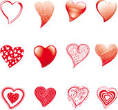 Doze corações Fotografia de Stock Royalty Free