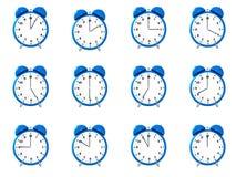 Doze despertadores do azul ilustração do vetor